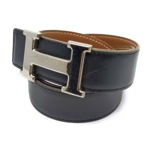 Authentic Hermes H Silver Buckle Reversible Belt